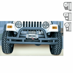 ( 1156103 ) 3-Inch Double Tube Front Winch Bumper, Hoop, 76-06 Jeep Models by Rugged Ridge