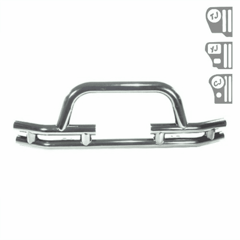 ( 1156303 ) 3-Inch Tube Front Winch Bumper, Stainless Steel, 76-06 Jeep Models by Rugged Ridge