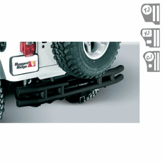 ( 1157002 ) 3-Inch Double Tube Rear Bumper With Hitch, 55-86 Jeep CJ Models by Rugged Ridge