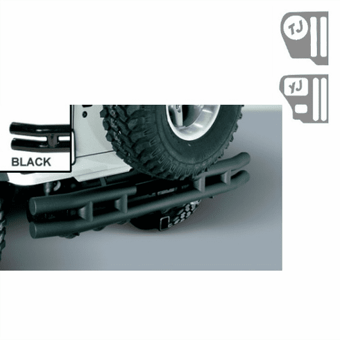 ( 1157004 ) 3-Inch Double Tube Rear Bumper with Hitch, 87-06 Jeep Wrangler by Rugged Ridge