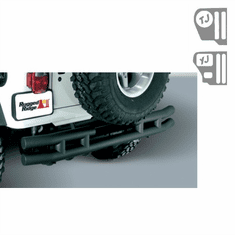 ( 1157102 ) 3-Inch Double Tube Rear Bumper With Hitch, 55-86 Jeep CJ Models by Rugged Ridge