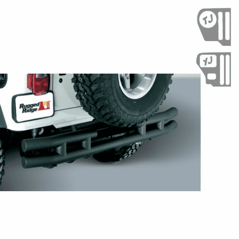 ( 1157104 ) 3-Inch Double Tube Rear Bumper with Hitch, 87-06 Jeep Wrangler by Rugged Ridge