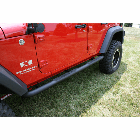 ( 1159006 ) 3-Inch Round Tube Steps, Black, 07-18 Jeep Wrangler Unlimited by Rugged Ridge