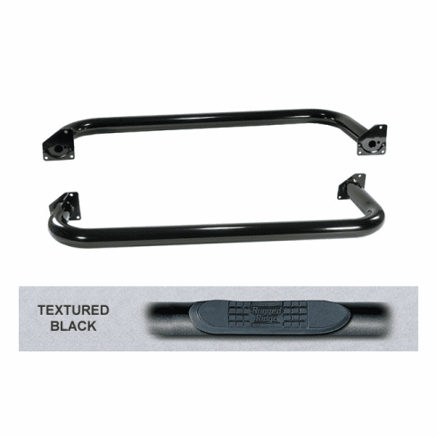 ( 1159103 ) 3-Inch Round Tube Side Steps, Black, 87-95 Jeep Wrangler by Rugged Ridge