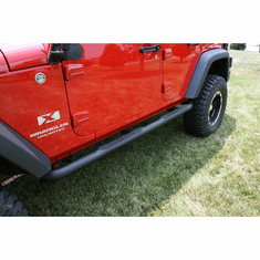 ( 1159106 ) 3-Inch Round Tube Steps, Black, 07-18 Jeep Wrangler Unlimited by Rugged Ridge