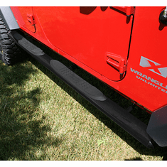 ( 1159108 ) 4 1/4-inch Oval Tube Side Steps, Black, 07-18 Wrangler Unlimited by Rugged Ridge