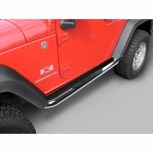 ( 1159305 ) 3-Inch Round Tube Side Step, Stainless 07-18 Jeep 2-Door Wrangler by Rugged Ridge