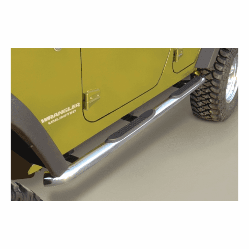 ( 1159306 ) 3-Inch Round Tube Side Steps, Stainless, 07-18 Wrangler Unlimited by Rugged Ridge