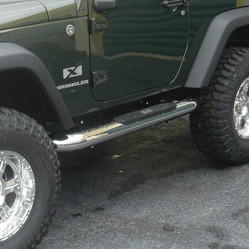 ( 1159309 ) 4-inch Round Side Steps, Stainless Steel, 07-18 Jeep Wrangler by Rugged Ridge