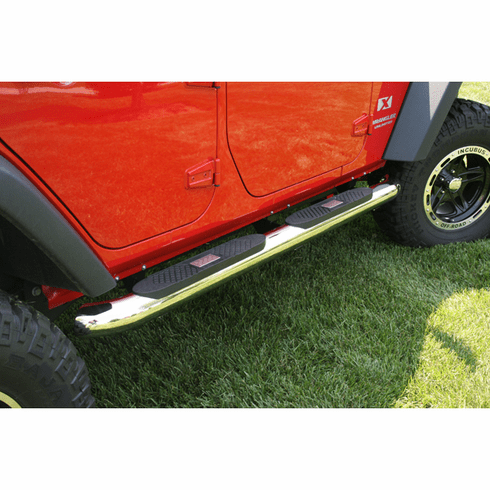 ( 1159310 ) 4-inch Round Step, Stainless Steel, 07-18 Jeep Wrangler Unlimited by Rugged Ridge