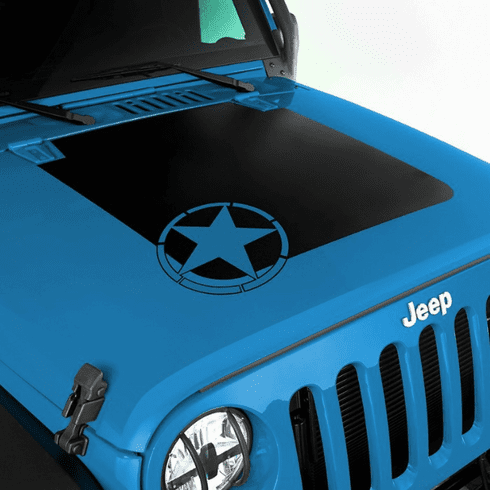 ( 1230015 ) Military Star Hood Decal for 2007-2018 Jeep Wrangler JK