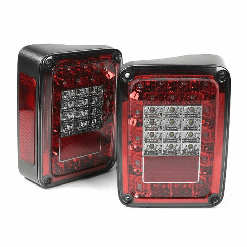 ( 1240388 ) LED Tail Light Set, Smoke, 2007-2018 Jeep Wrangler by Rugged Ridge