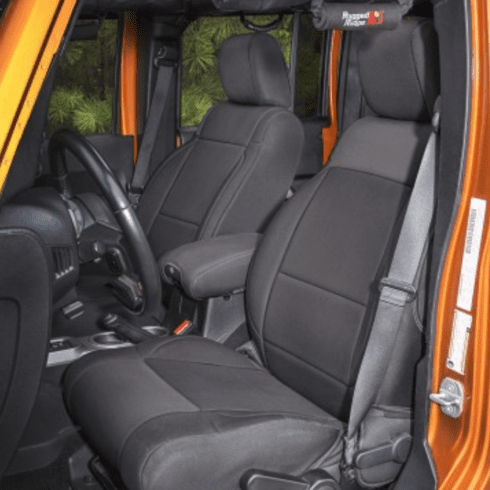 ( 1321501 ) Neoprene Front Seat Covers, Black, 11-18 Jeep Wrangler by Rugged Ridge