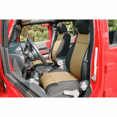 ( 1321504 ) Neoprene Front Seat Covers, Black and Tan, 11-18 Jeep Wrangler by Rugged Ridge