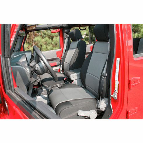 ( 1321509 ) Neoprene Front Seat Covers, Black and Gray, 11-18 Jeep Wrangler by Rugged Ridge