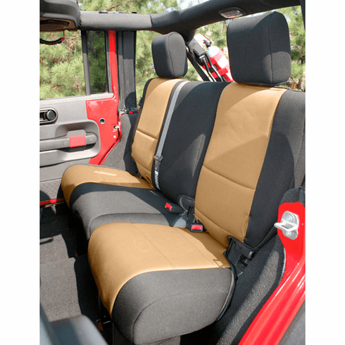 ( 1326504 ) Neoprene Rear Seat Cover, Black and Tan, 07-18 Jeep Wrangler by Rugged Ridge