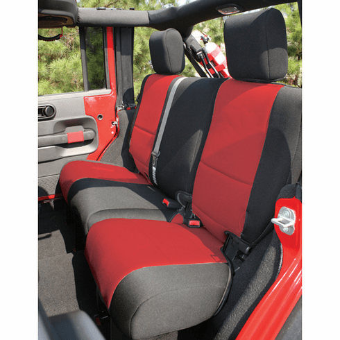 ( 1326553 ) Neoprene Rear Seat Cover, Black and Red, 07-18 Jeep Wrangler by Rugged Ridge