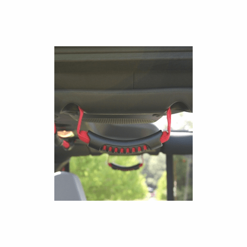 ( 1330515 ) Rear Side Grab Handles, Red, 07-18 Jeep Wrangler Unlimited by Rugged Ridge