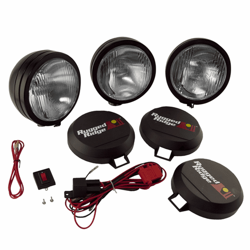 ( 1520562 ) 5-Inch Round HID Off Road Fog Light Kit, Black Steel Housing by Rugged Ridge