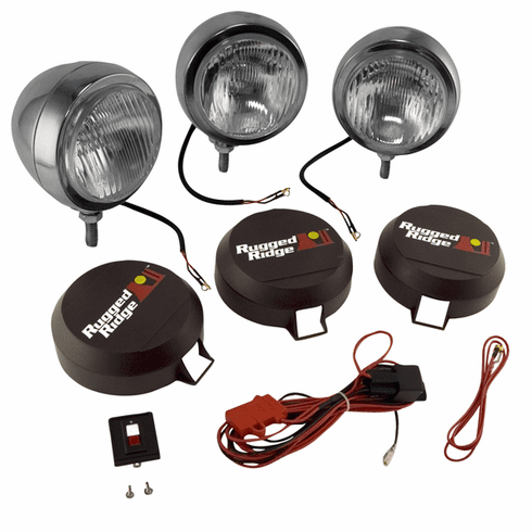 ( 1520661 ) 6-Inch Round HID Off Road Fog Light Kit, Stainless Steel Housing by Rugged Ridge