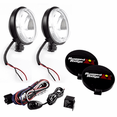 ( 1520758 ) 6-Inch Round Slim Halogen Light Kit, Black Steel Housings by Rugged Ridge