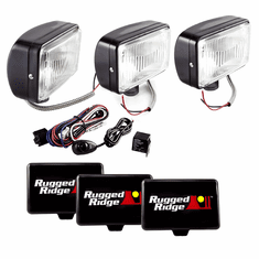( 1520765 ) 5-Inch x 7-Inch Halogen Fog Light Kit, Black Steel Housings by Rugged Ridge