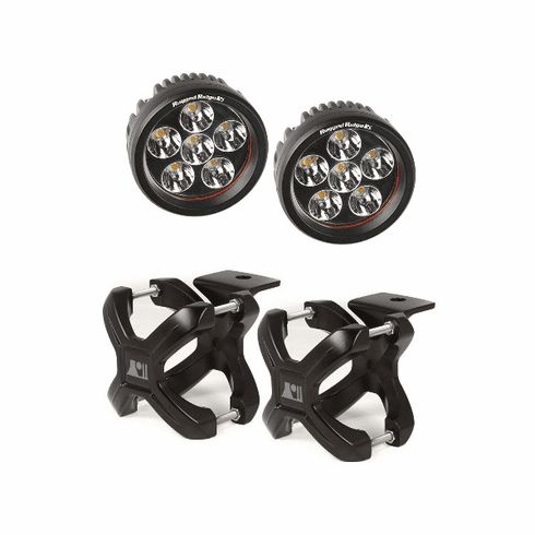 ( 1521005 ) Large X-Clamp and Round LED Kit, Pair, Black by Rugged Ridge