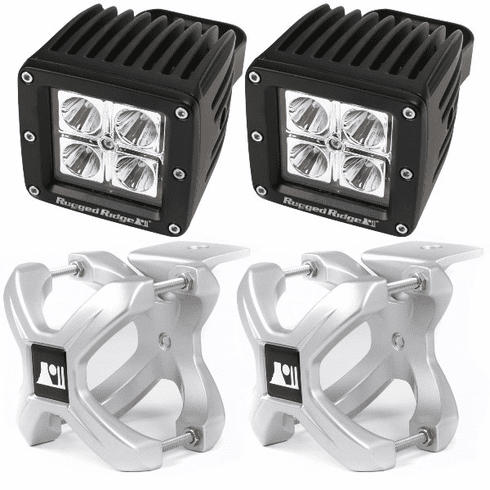 ( 1521011 ) Large X-Clamp and Cube LED Light Kit, Silver, Pair by Rugged Ridge