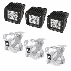 ( 1521012 ) Large X-Clamp and Cube LED Light Kit, Silver, 3-Pieces by Rugged Ridge