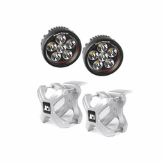 ( 1521014 ) Large X-Clamp and Round LED Kit, Pair, Silver by Rugged Ridge
