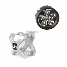 ( 1521034 ) Small X-Clamp & Round LED Light Kit, Silver, Single by Rugged Ridge