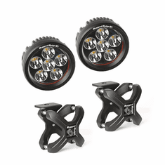 ( 1521041 ) Small X-Clamp & Round LED Light Kit, Textured Black, Pair by Rugged Ridge