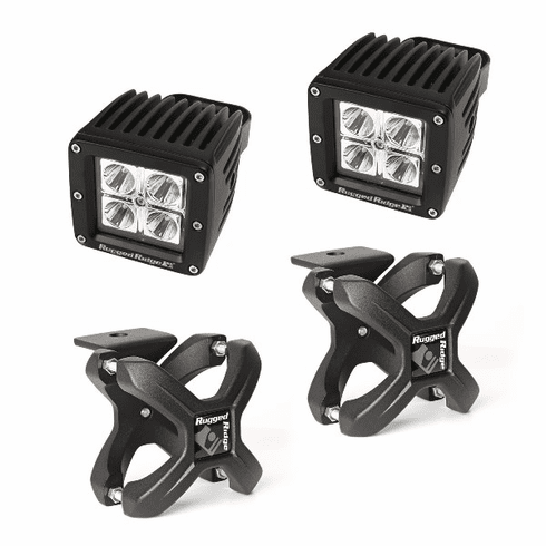 ( 1521091 ) Large X-Clamp and Cube LED Light Kit, Textured Black, Pair by Rugged Ridge