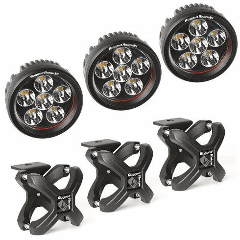 ( 1521095 ) Large X-Clamp and Round LED Kit, Textured Black, 3-Piece by Rugged Ridge