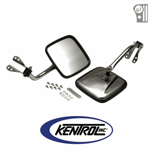 ( 30417 ) Polished Stainless Steel Mirror Kit fits 1955-1986 Jeep CJ Models by Kentrol