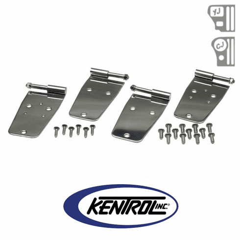 ( 30420 ) Polished Stainless Steel Door Hinge Set, 4 pieces, fits 1976-1993 Jeep CJ & YJ Wrangler by Kentrol