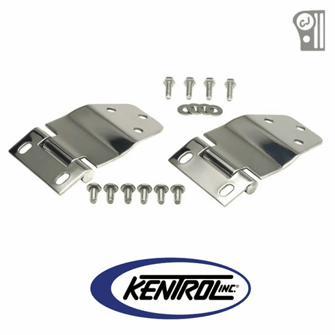 ( 30421 ) Polished Stainless Steel Liftgate Hinge Set fits 1977-1986 Jeep CJ7 by Kentrol