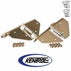 ( 30427 ) Polished Stainless Steel Windshield Hinge Set, no Mirror Holes, fits 1976-1995 Jeep CJ & YJ Wrangler by Kentrol