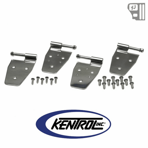 ( 30441 ) Door Hinge Set (4 pieces) Polished Stainless Steel fits 1987-1995 Jeep Wrangler YJ by Kentrol