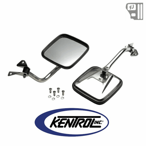 ( 30445 ) Mirror Kit (pair) Polished Stainless Steel fits 1987-1995 Jeep Wrangler YJ by Kentrol
