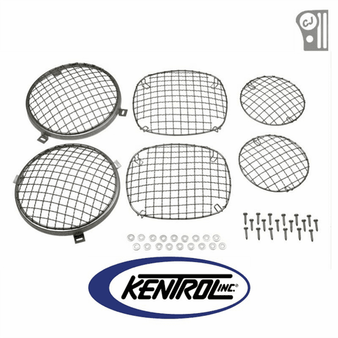 ( 30465 ) Polished Stainless Steel Wire Mesh Guard Set, 6 pieces, fits 1976-1986 Jeep CJ Models by Kentrol