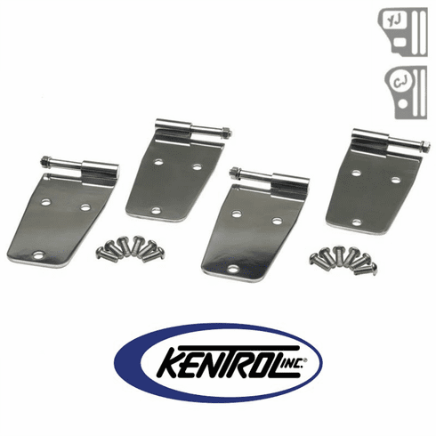 ( 30474 ) Polished Stainless Steel Hardtop Door Hinge Set w/o mirror holes, 4 pieces, fits 1955-1993 Jeep CJ & YJ Wrangler by Kentrol
