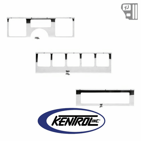 ( 30519 ) Dash Overlay Set (3 pieces) Polished Stainless Steel fits 1987-1995 Jeep Wrangler YJ by Kentrol