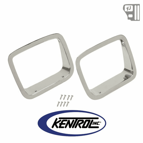 ( 30536 ) Headlight Bezels (pair) Polished Stainless Steel fits 1987-1995 Jeep Wrangler YJ by Kentrol