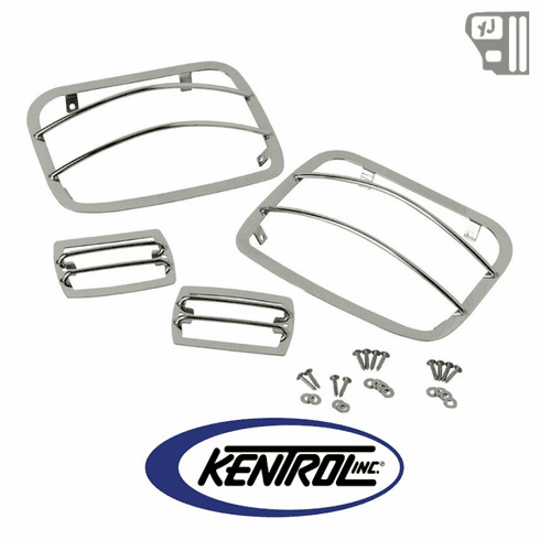 ( 30558 ) Light Guard Set (4 pieces) Polished Stainless Steel fits 1987-1995 Jeep Wrangler YJ by Kentrol