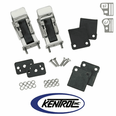 ( 30563 ) Polished Stainless Steel Hood Catch Set, TJ Style fits 1942-1995 Jeep CJ & YJ Wrangler by Kentrol