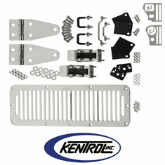 ( 30570 ) Polished Stainless Steel Hood Kit with TJ Style Hood Catch fits 1978-1995 Jeep CJ & YJ Wrangler by Kentrol