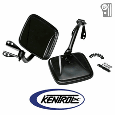( 50417 ) Black Powder Coated Stainless Mirror Kit fits 1955-1986 Jeep CJ Models by Kentrol