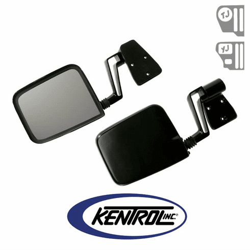 ( 50475 ) Mirror Kit (pair) Black Powder Coated Stainless fits 1988-2006 Jeep Wrangler YJ, TJ by Kentrol