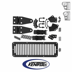 ( 50570 ) Black Powder Coated Stainless Hood Kit with TJ Style Hood Catch fits 1978-1995 Jeep CJ & YJ Wrangler by Kentrol